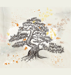 Hand drawn tree on an old paper vector