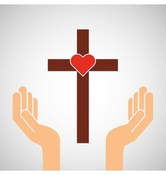Hands with cross and sacred heart icon vector