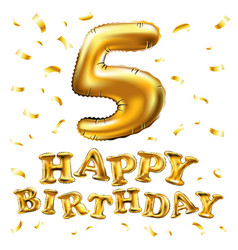 happy birthday golden 5 number five metallic vector image