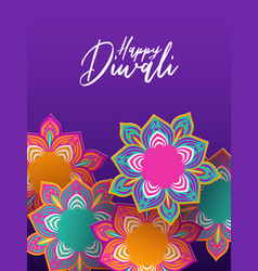 Happy diwali festival card 3d papercut flowers vector