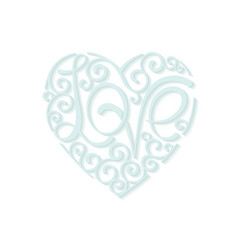 heart curl love lettering design element vector image