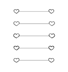 Heart dividers scribble borders vector image