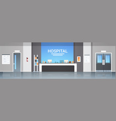 Hospital reception desk waiting hall with vector