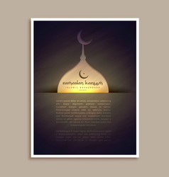 Islamic ramadan and eid festival greeting flyer vector