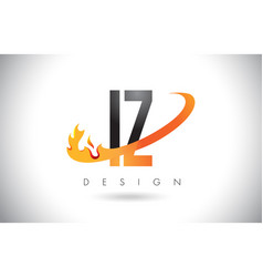 iz i z letter logo with fire flames design and vector image