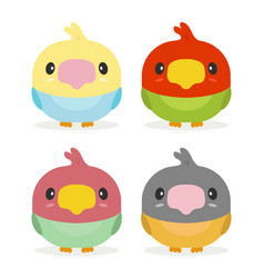 kawaii birds vector image
