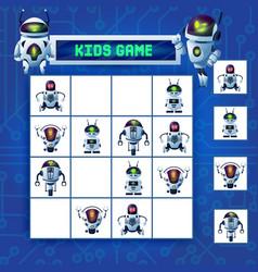 Kids sudoku maze game cartoon robots riddle vector