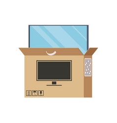 large plasma tv is half visen out of the box vector image