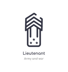 Lieutenant outline icon isolated line from army vector