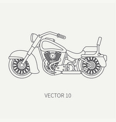 Line flat plain motorcycle icon - classic vector