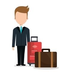 man businessman suitcases icon vector image