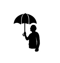 man with umbrella silhouette vector image