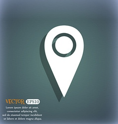 Map pointer icon sign On the blue-green abstract vector image