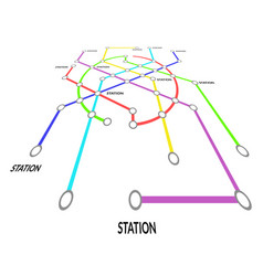 metro map signs color thin line card vector image