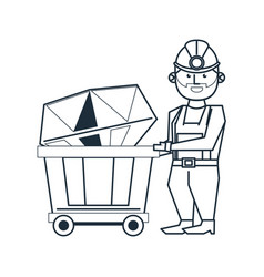 Mining and worker cartoon black and white vector