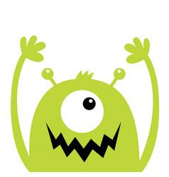 Monster head green silhouette one eye teeth fang vector