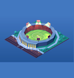 night view on cricket stadium isometric building vector image