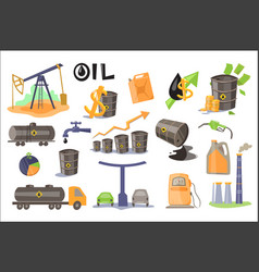 Oil industry set extraction refinery production vector