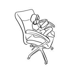 outline doodle boy playing tablet on big office vector image