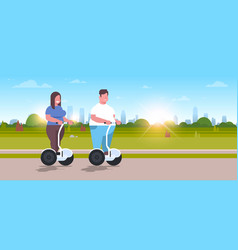 Overweight couple riding self balancing scooter vector