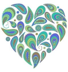 Paisley heart in turquoise and aqua colors vector image