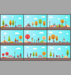 people spending time in park walking together vector image