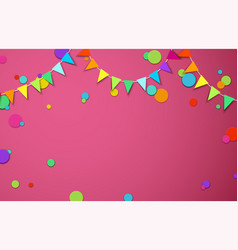 Pink festive background with colour flags and vector