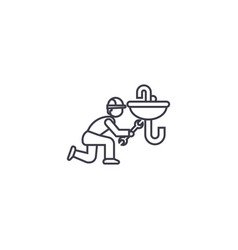 plumbing maintenance line icon sign vector image