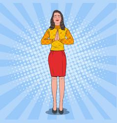 pop art joyful woman praying happy female prayer vector image
