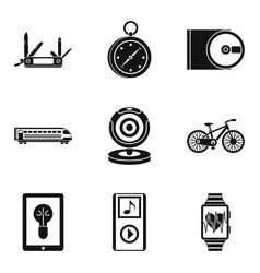 Positioning icons set simple style vector