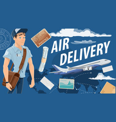 Post air mail service and mailman vector