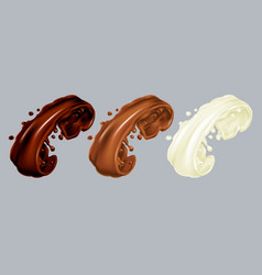 realistic chocolate splash set vector image