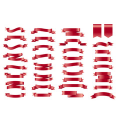 Red banner ribbons set of 34 ribbons vector