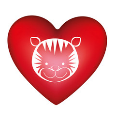 red heart shape with silhouette face cute tiger vector image