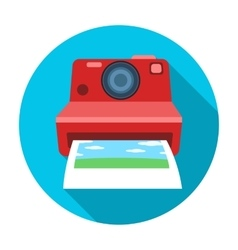 Retro photocamera icon in flat style isolated on vector
