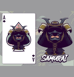 samurai head for ace spades paying card design vector image