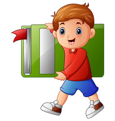 school boy holding large book vector image