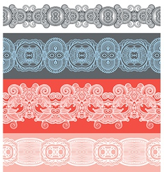 Seamless ornamental floral stripes vector