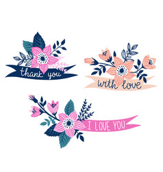 set hand drawn ribbons with flowers and stylish vector image