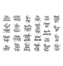set of 25 hand lettering inscription magical vector image vector image