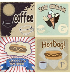 Set of vintage cards with the image of fast food vector image