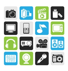 Silhouette multimedia and technology icons vector