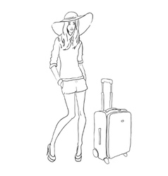 Sketch fashion woman with bag vector