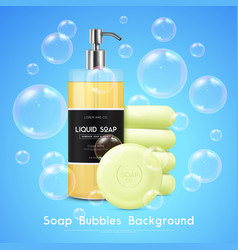 Soap bubbles realistic background poster vector