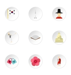 Stay in South Korea icons set flat style vector image