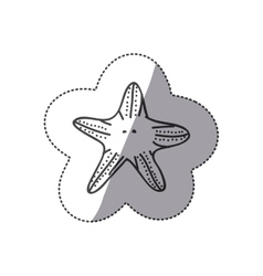 Sticker silhouette starfish animal marine design vector