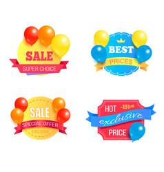 super choice sale exclusive price promo labels set vector image