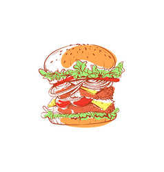 Tasty hamburger isolated icon vector