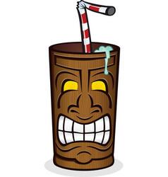 tiki god wooden cup cartoon vector image