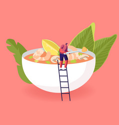 Tiny male character stand on ladder at huge bowl vector
